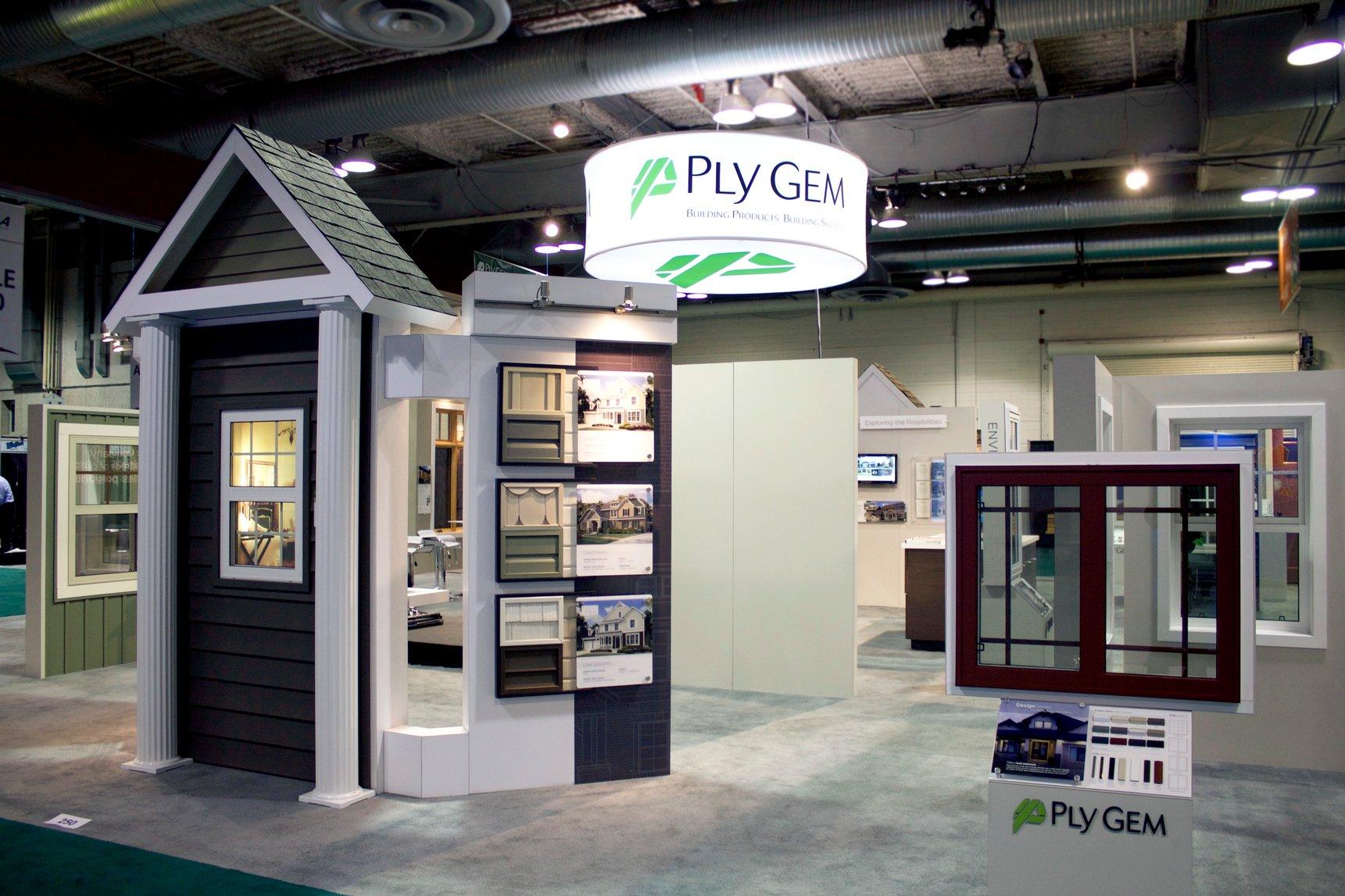 Custom 30x50 exhibit with custom builds for Ply Gem Canada.