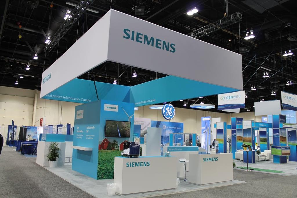 Custom island exhibit for Siemens at the CanWea show in Calgary