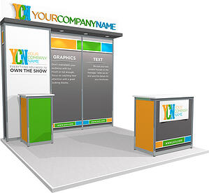 10x10 rental square booth space with 3D lettering