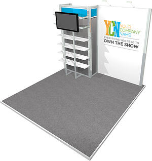 10x10 rental octanorm display with product shelving and monitor