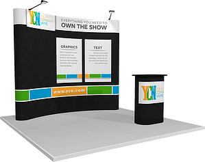 10x10 full fabric pop-up display with velcro graphics