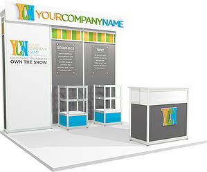 10x10 rental trade show display with product casing and 3D letters