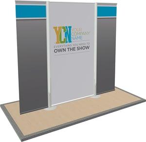 10x10 modular rental trade show display with  vinyl graphics