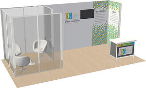 10x20 semi private meeting room rental display