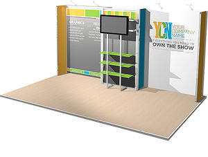 10x20 rental display with shelving and full color graphics