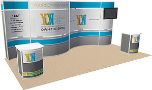 10x20 rental trade show curved hardware display