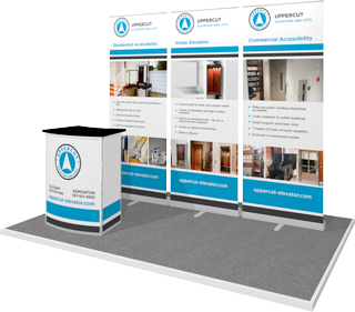 3 retractable Banner Stands for Uppercut Elevators