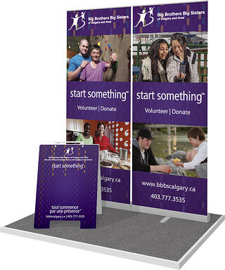 BBBS banner stands and sandwich board