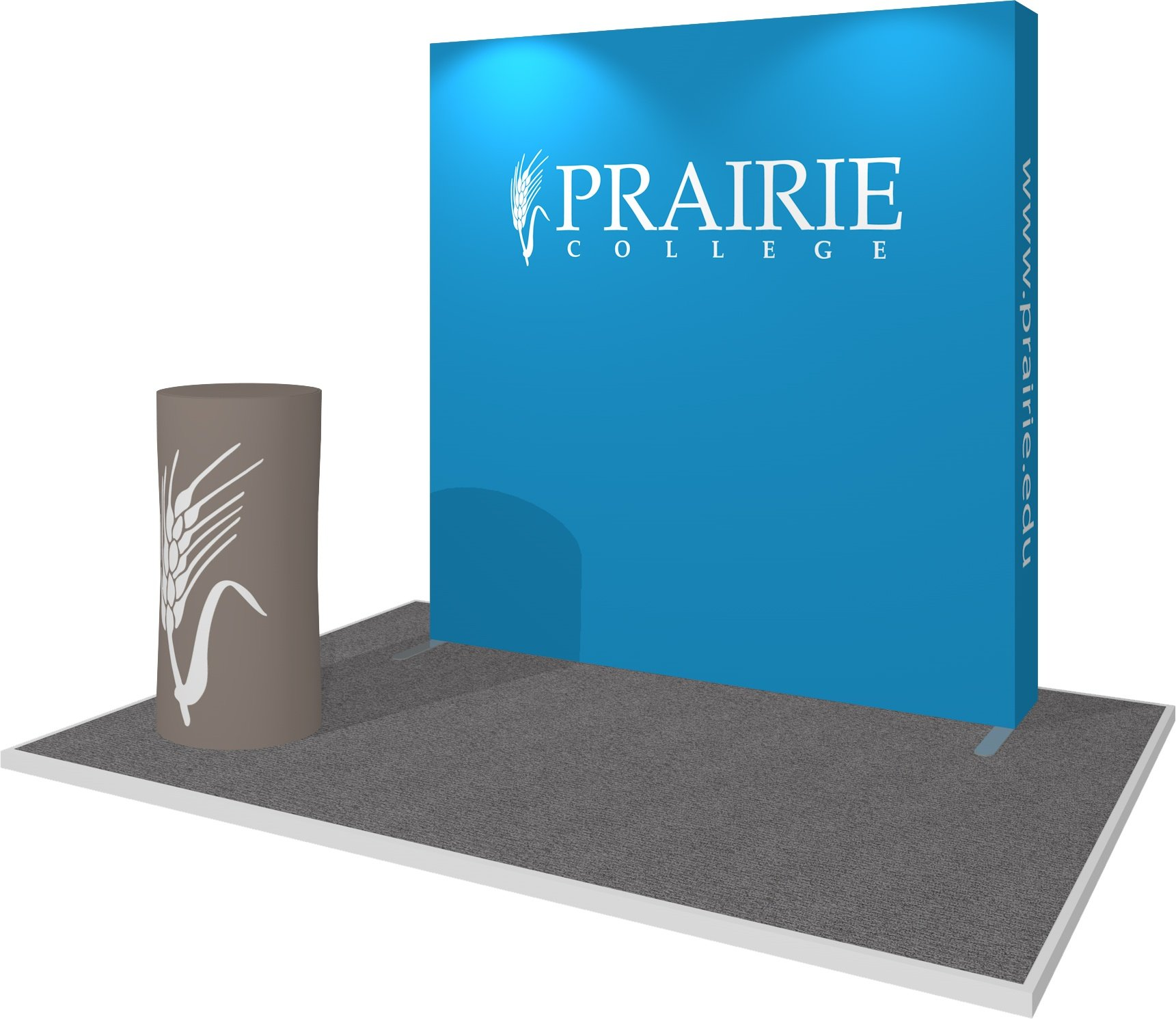 Hop Up Fabric Display for Prairie College