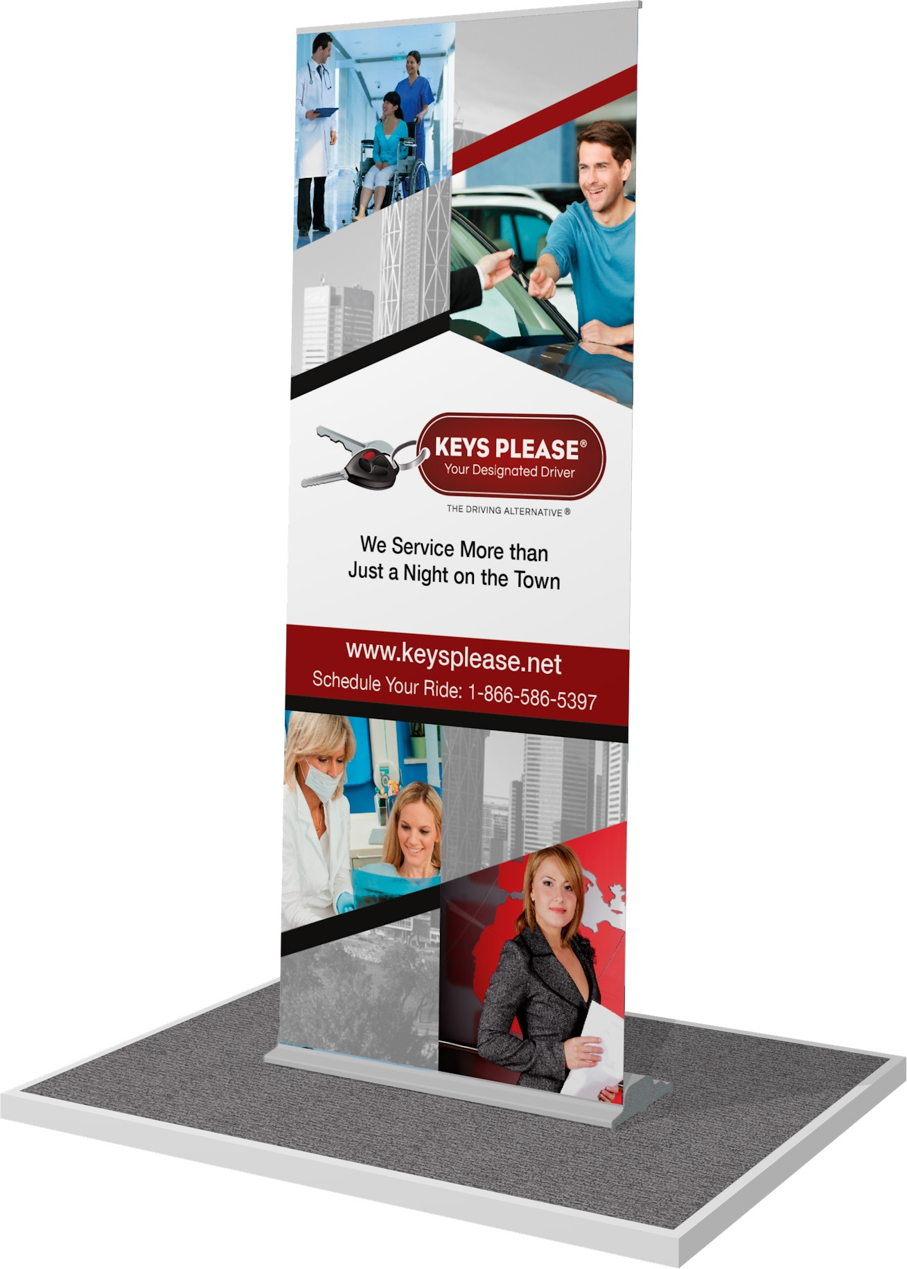 Rendering of a retractable-style banner stand.