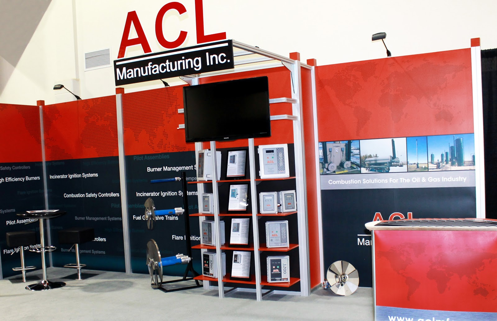 10' x 20' Octanorm Exhibit with Custom Header & Shelving for ACL Manufacturing