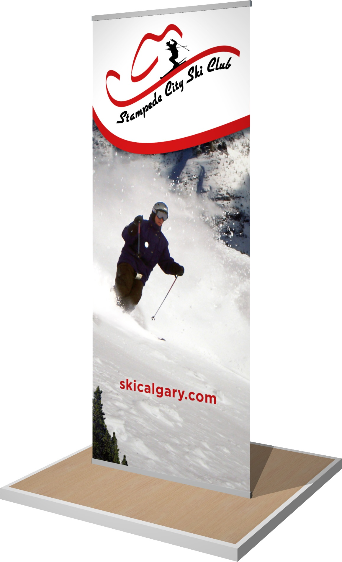 Rendering of a manual-style banner stand.