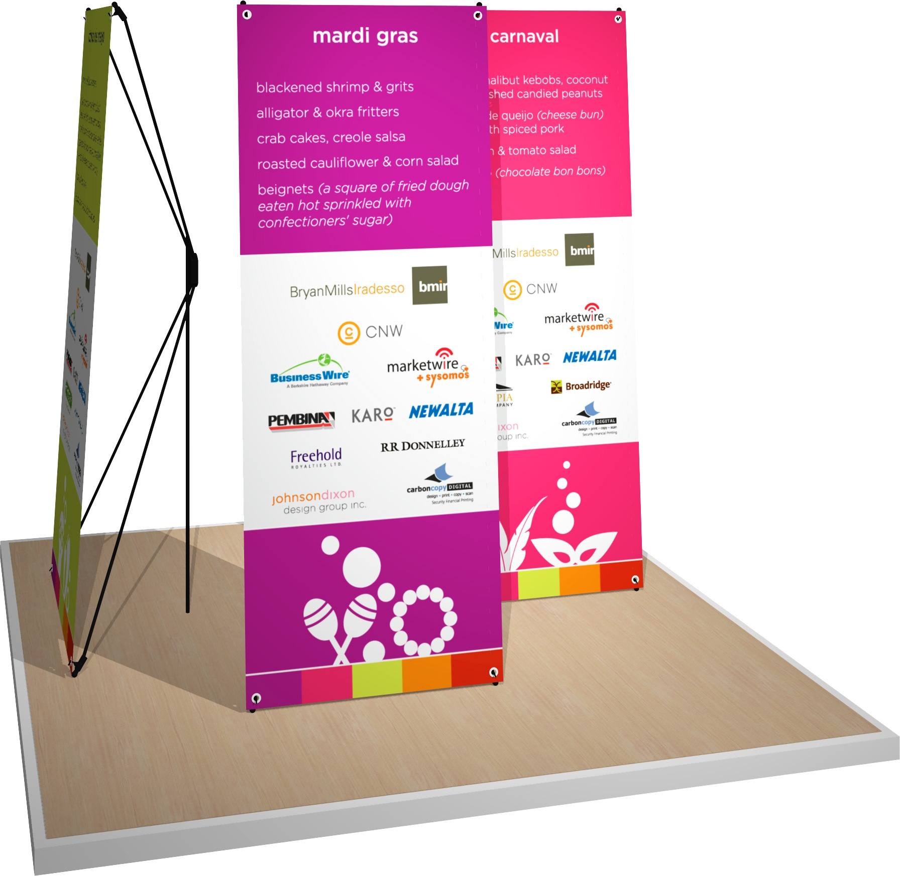 Rendering of a tension-style banner stand.