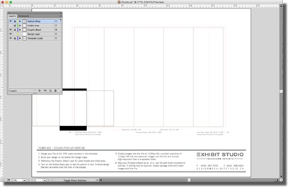 The bleed area of a pop-up display Illustrator file.