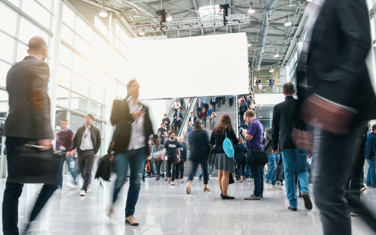 Trade show goers are moving from place to place