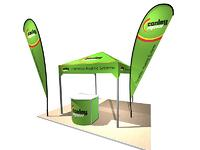 Outdoor display with tent and flags
