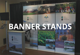 Portable pull up Banner Stands