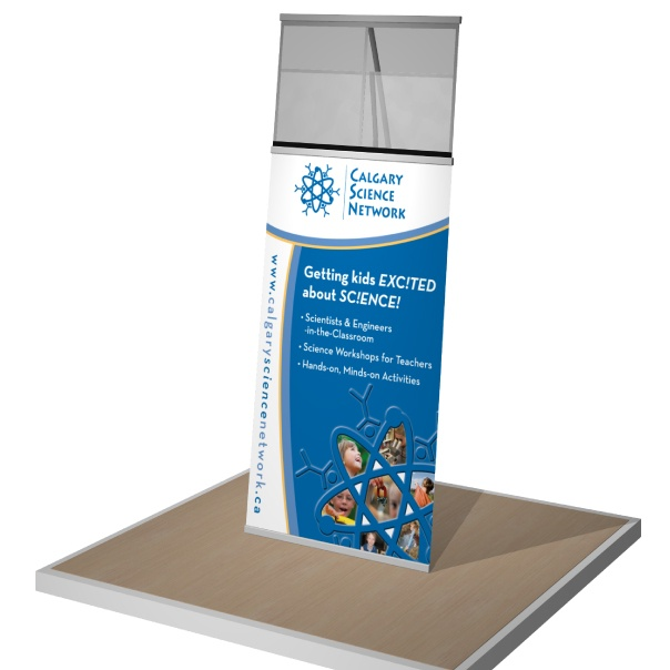 Portable double-take banner stand for Calgary Science Network