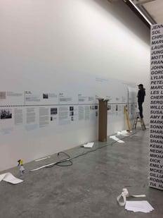80' timeline vinyl graphic installation