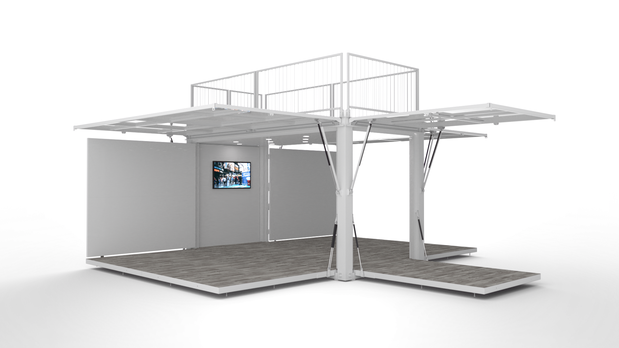 Rendering of a shipping container that doubles as a display